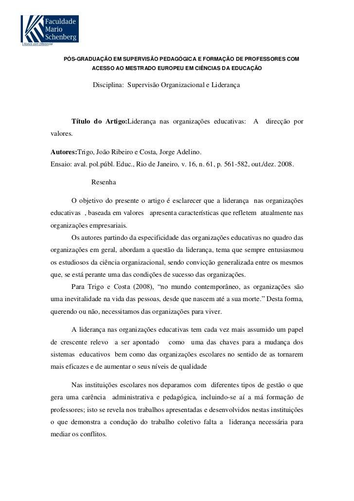 PÓS-GRADUAÇÃO EM SUPERVISÃO PEDAGÓGICA E FORMAÇÃO DE PROFESSORES COM              ACESSO AO MESTRADO EUROPEU EM CIÊNCIAS D...