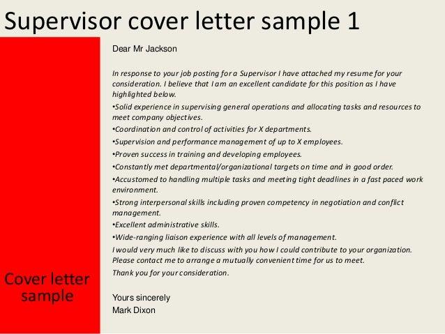 Supervisor cover letter