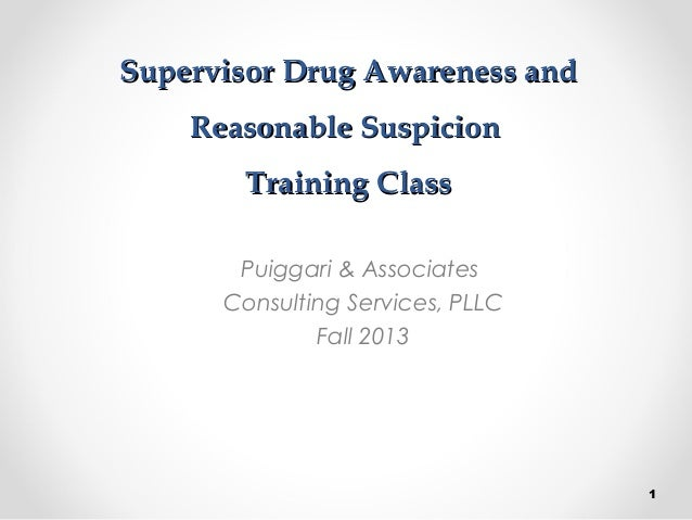 supervisor drug awareness and reasonable suspicion by p a consulting