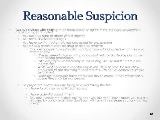 Supervisor Drug Awareness and Reasonable Suspicion by P&A ...