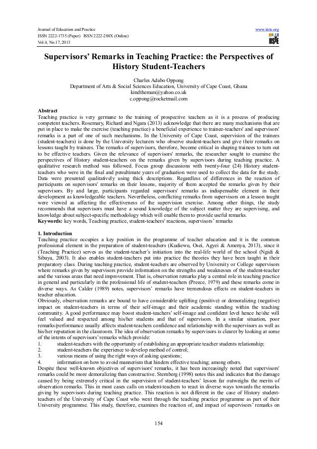 Journal of Education and Practice www.iiste.org ISSN 2222-1735 (Paper) ISSN 2222-288X (Online) Vol.4, No.17, 2013 154 Supe...