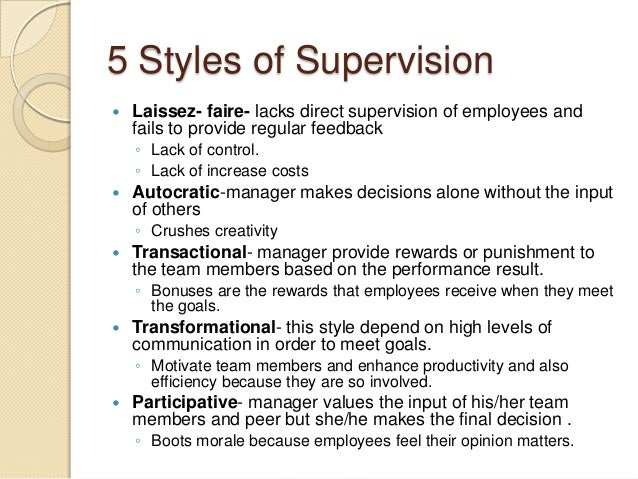 supervision styles in education