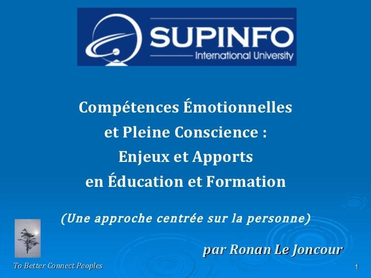 par Ronan Le Joncour Compétences Émotionnelles et Pleine Conscience: Enjeux et Apports en Éducation et Formation (Une app...