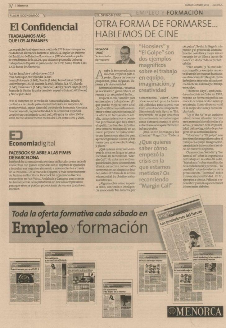 Suplemento Empleo y Formación - Diari Menorca - 06_10_2012