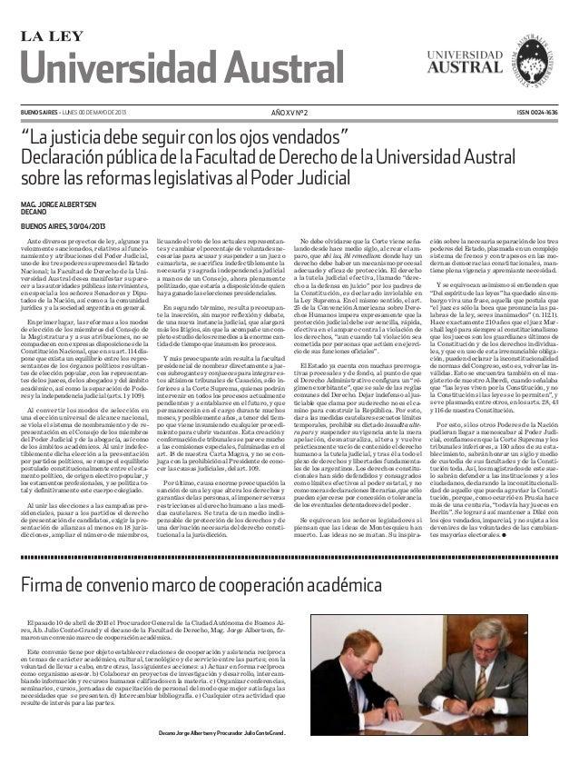 """BUENOS AIRES - LUNES 00 de MAYO de 2013 AÑO XV N° 2 ISSN 0024-1636UniversidadAustral""""Lajusticiadebeseguirconlosojosvenda..."""