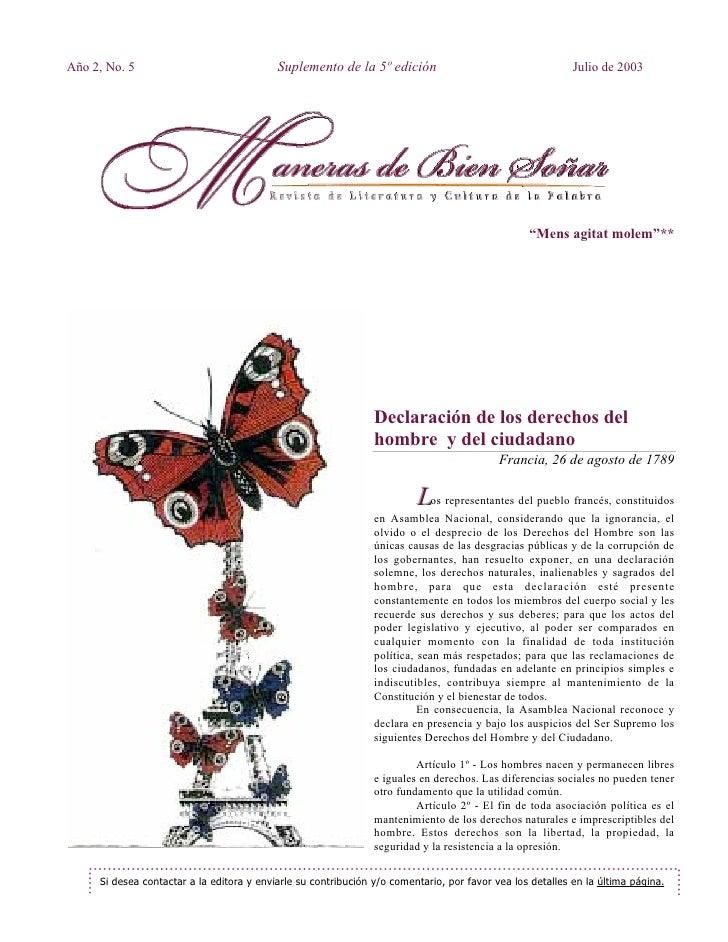 Año 2, No. 5                               Suplemento de la 5º edición                                     Julio de 2003  ...