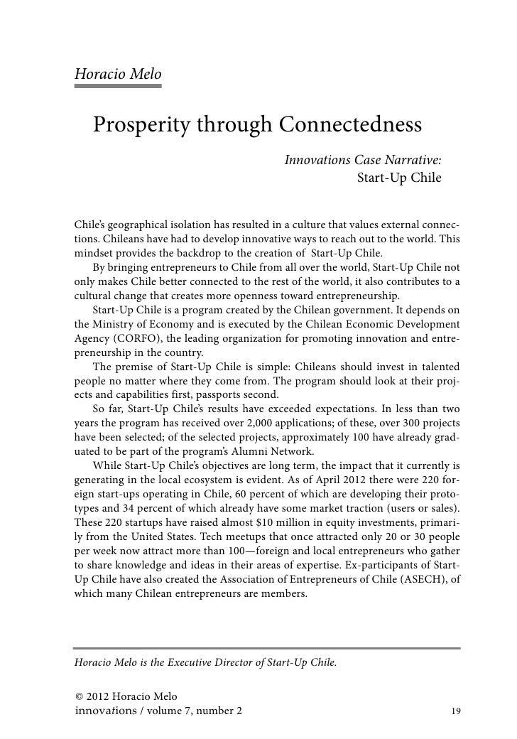 Horacio Melo    Prosperity through Connectedness                                              Innovations Case Narrative: ...