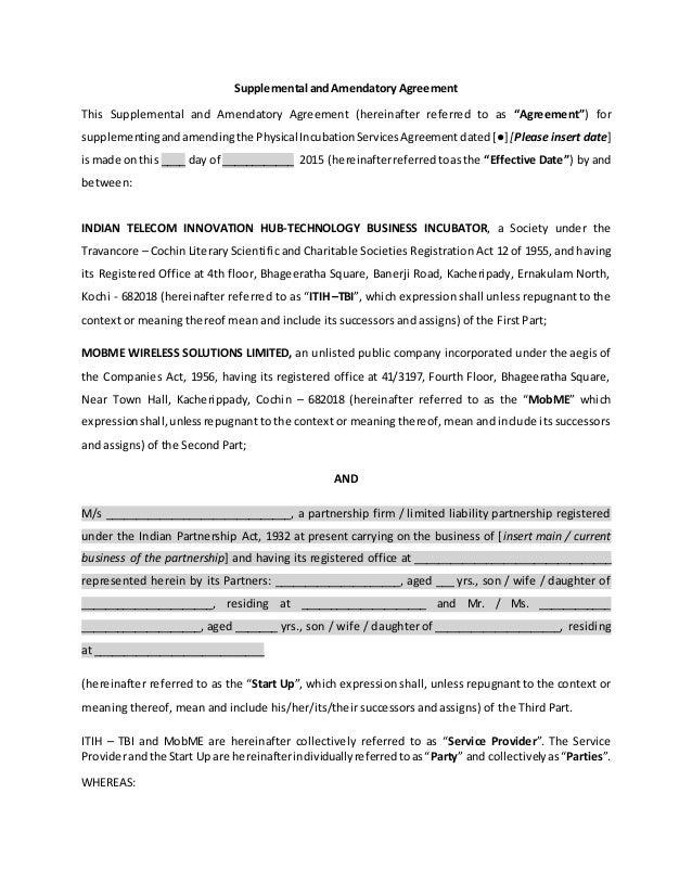 Supplemental Agreement Fortheincubationservicesagreement13102