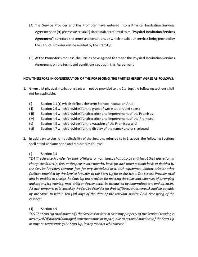 Supplemental Agreement Fortheincubationservicesagreement13102