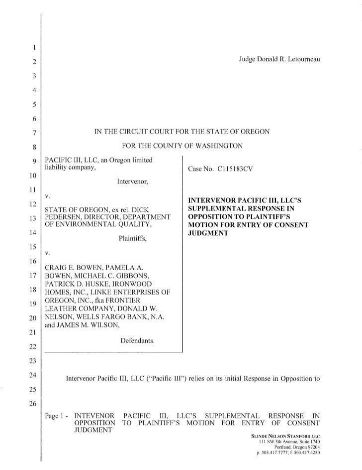 Supplemental response to motion for entry of consent judgment