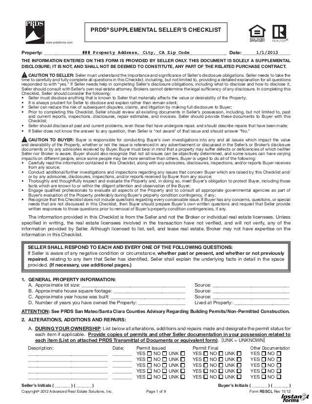 Supplemental Sellers Checklist Rsscl Rev 11 12