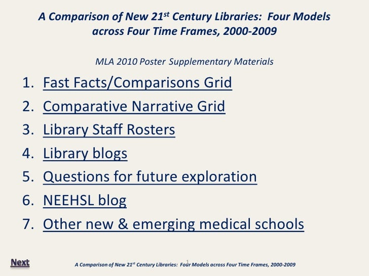 A Comparison of New 21st Century Libraries: Four Models               across Four Time Frames, 2000-2009                  ...
