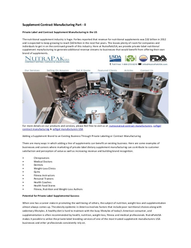 Supplement Contract Manufacturing Part Ii