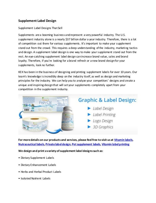 Supplement label design
