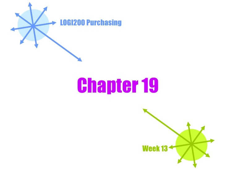LOGI200 Purchasing Week 13 Chapter 19