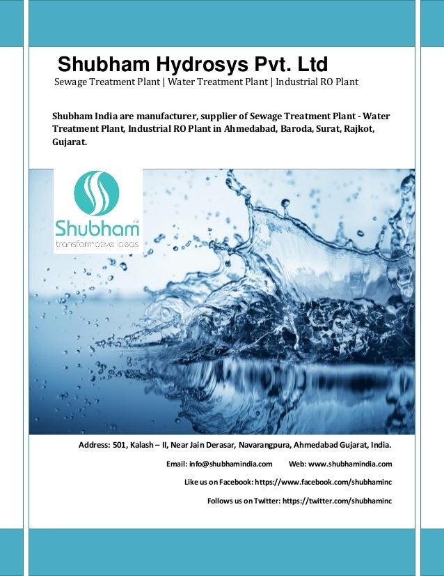Shubham Hydrosys Pvt. Ltd Sewage Treatment Plant | Water Treatment Plant | Industrial RO Plant Shubham India are manufactu...