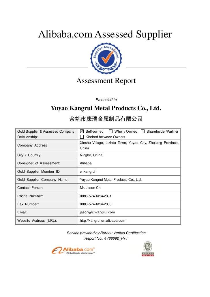 Alibaba.com Assessed Supplier                                   Assessment Report                                         ...
