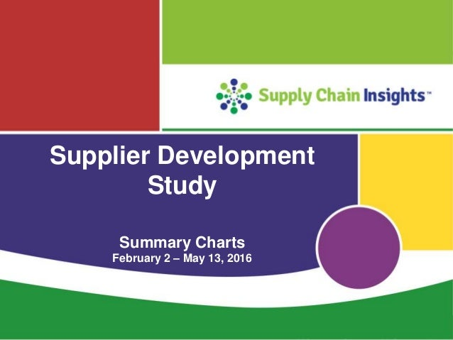 Supplier Development Study - Feb-May 2016 - Summary Charts