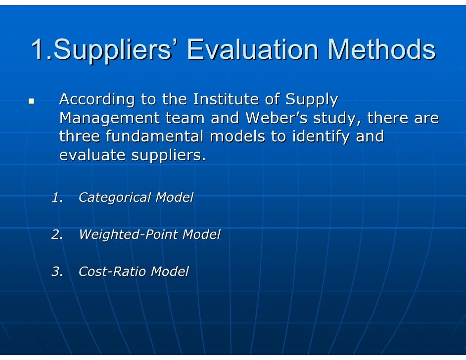 Supplier evaluation criteria – Vendor Evaluation