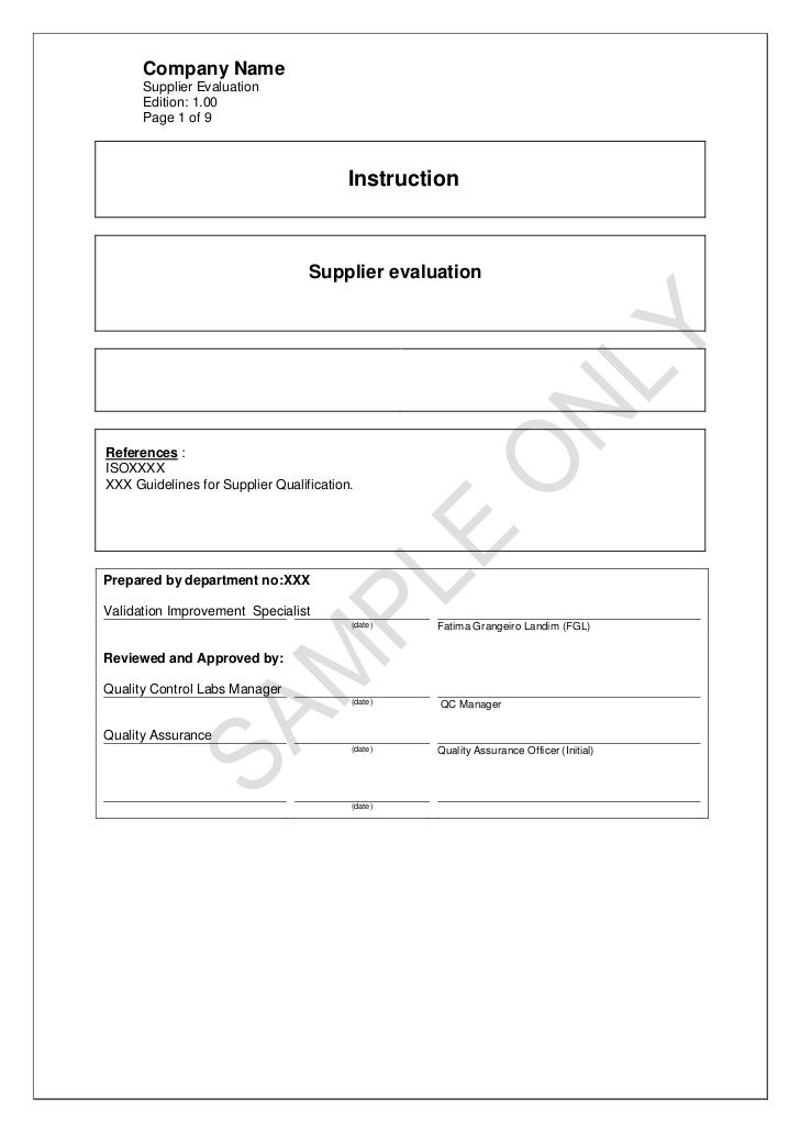 Company Name      Supplier Evaluation      Edition: 1.00      Page 1 of 9                                         Instruct...