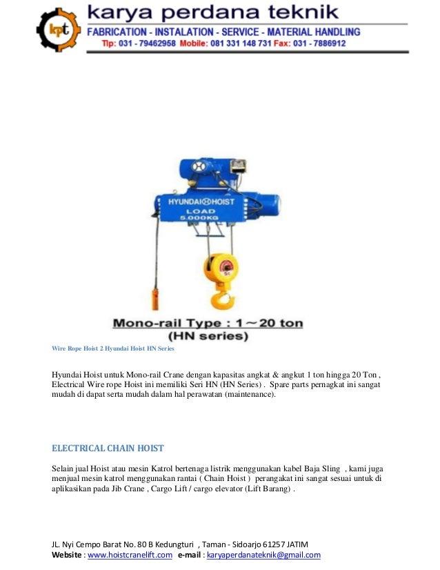 Supplier Hoist Crane Surabaya Makassar Balikpapan Jual