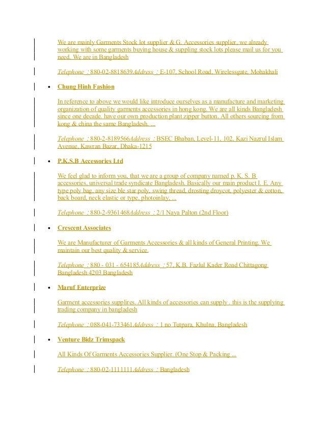 Garments Supplier list