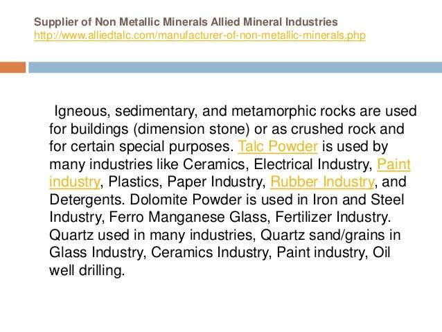 Supplier of non metallic minerals allied mineral industries