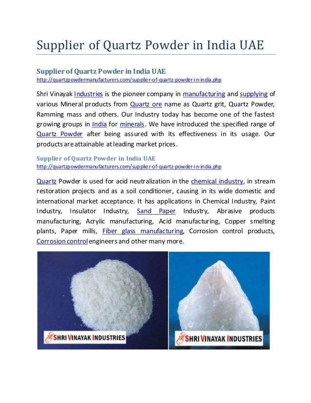 Supplier of Quartz Powder in India UAE