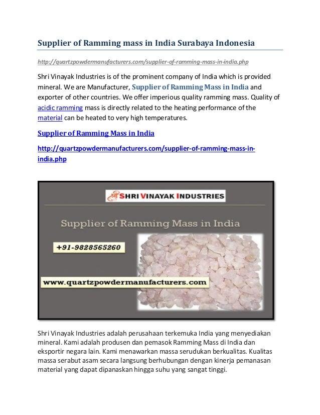 Supplier of Ramming mass in India Surabaya Indonesia http://quartzpowdermanufacturers.com/supplier-of-ramming-mass-in-indi...