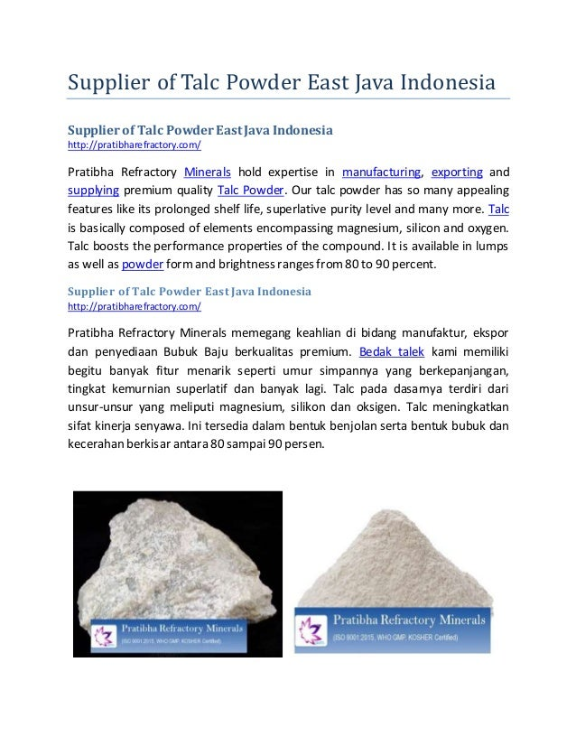 Supplier of Talc Powder East Java Indonesia Supplier of Talc Powder East Java Indonesia http://pratibharefractory.com/ Pra...