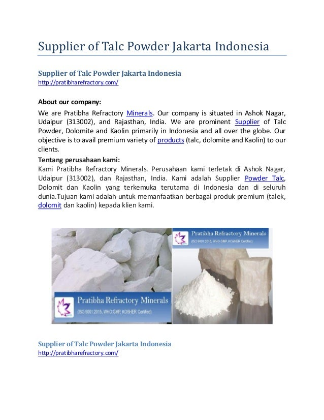 Supplier of Talc Powder Jakarta Indonesia Supplier of Talc Powder Jakarta Indonesia http://pratibharefractory.com/ About o...