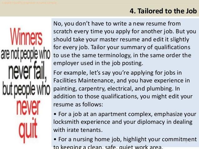 supplier quality engineer resume sample pdf ebook free
