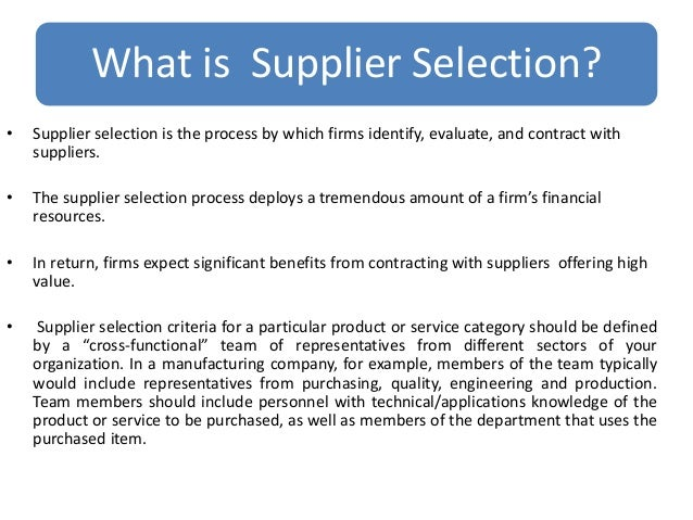 Supplier Selection Process Of Merk