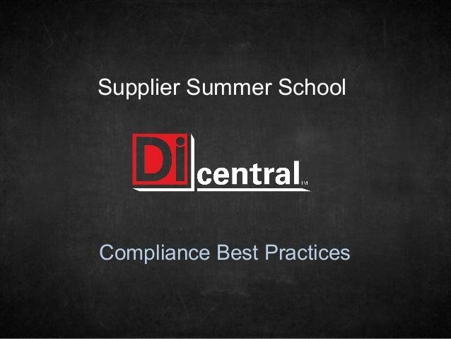 Supplier Summer SchoolCompliance Best Practices