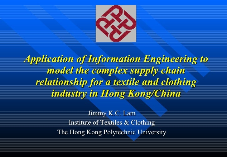 Application of Information Engineering to model the complex supply chain relationship for a textile and clothing industry ...