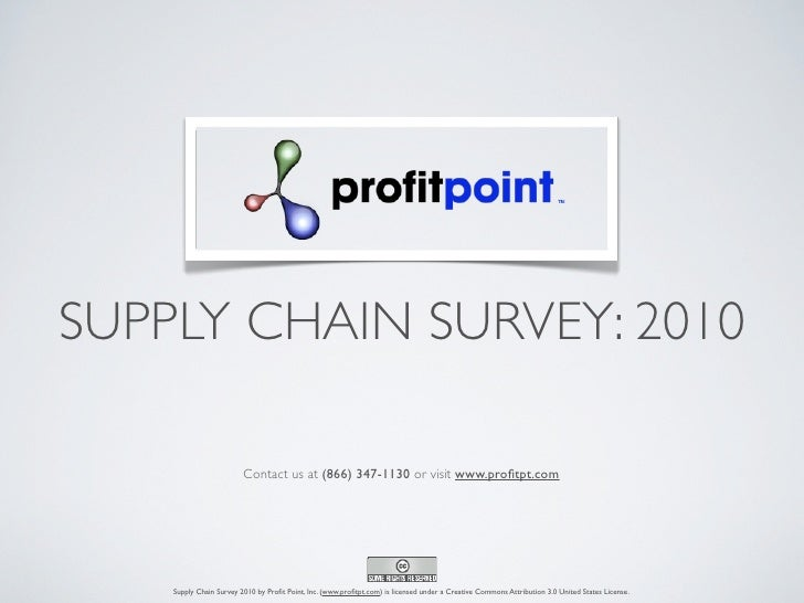 SUPPLY CHAIN SURVEY: 2010                         Contact us at (866) 347-1130 or visit www.profitpt.com    Supply Chain Su...