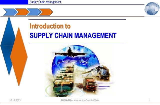 Supply Chain Management  Introduction to SUPPLY CHAIN MANAGEMENT  13.12.2013  EUROMPM- Information Supply Chain  1