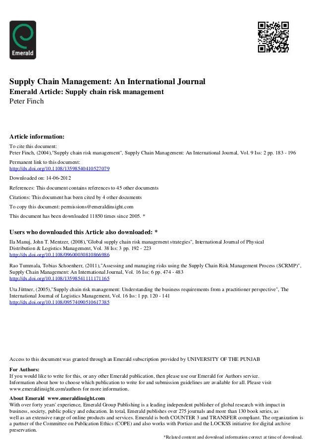 Supply Chain Management: An International JournalEmerald Article: Supply chain risk managementPeter FinchArticle informati...