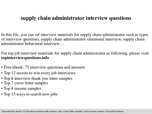 supply chain administrator interview questions