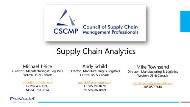 1 Supply Chain Analytics Michael J Rice Director | Manufacturing & Logistics Eastern US & Canada mrice@promodel.com O: 207...