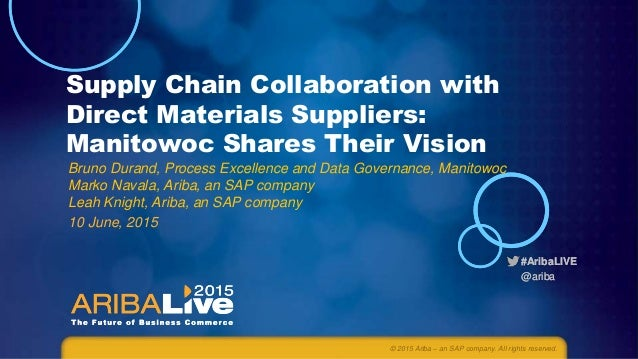#AribaLIVE @ariba #AribaLIVE @ariba Supply Chain Collaboration with Direct Materials Suppliers: Manitowoc Shares Their Vis...