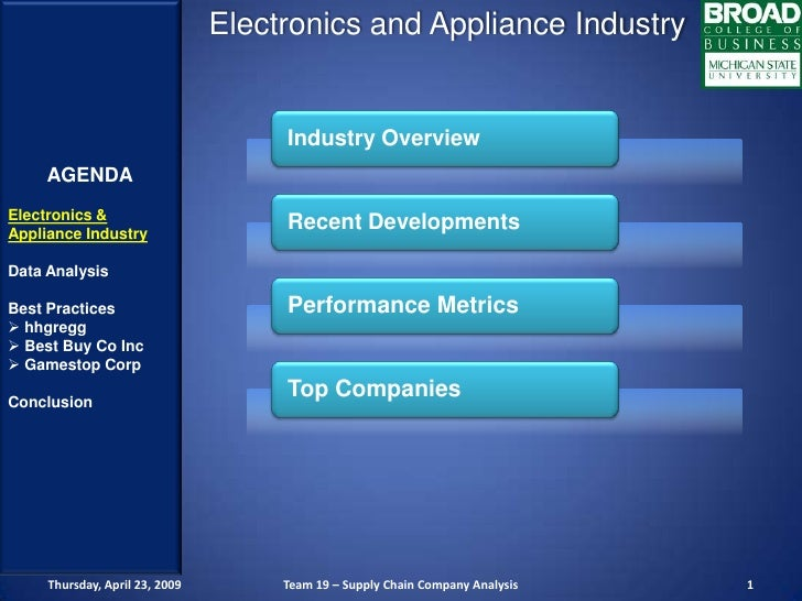 Electronics and Appliance Industry                                        Industry Overview      AGENDA Electronics &     ...