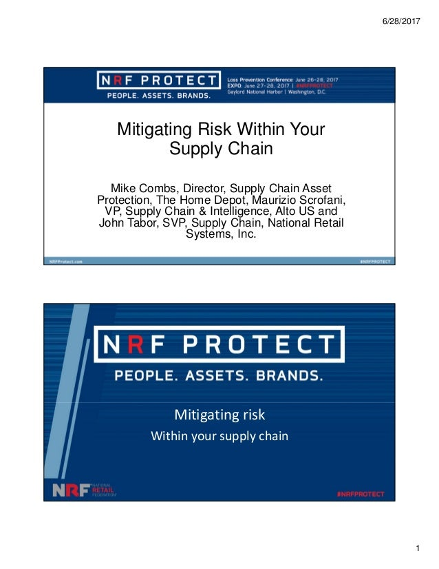 6/28/2017 1 Mitigating Risk Within Your Supply Chain Mike Combs, Director, Supply Chain Asset Protection, The Home Depot, ...