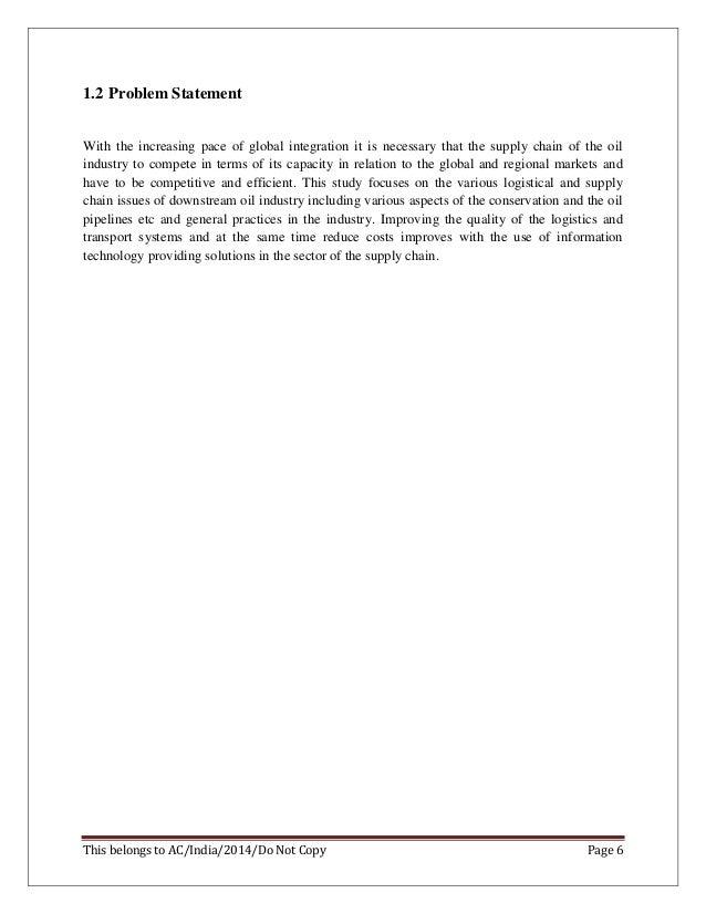 Dissertation reports supply chain management