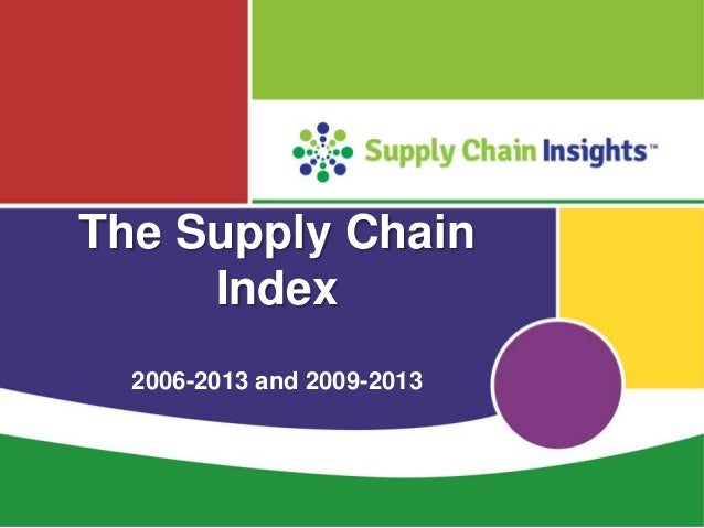 Supply Chain Index Rankings for 2006-2013 and 2009-2013
