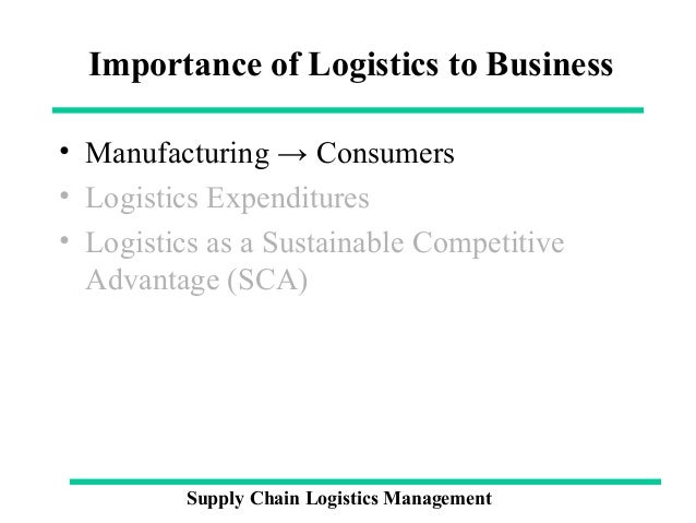 importance of logistics in supply chain management Objective of this study is role of third party logistics in supply chain management and to understand the an important factor in supply chain logistics is.