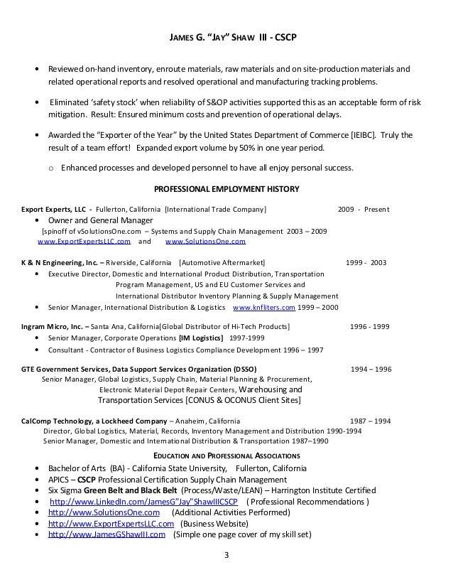 Supply Chain U0026 Logistics Resume 3 21 2013