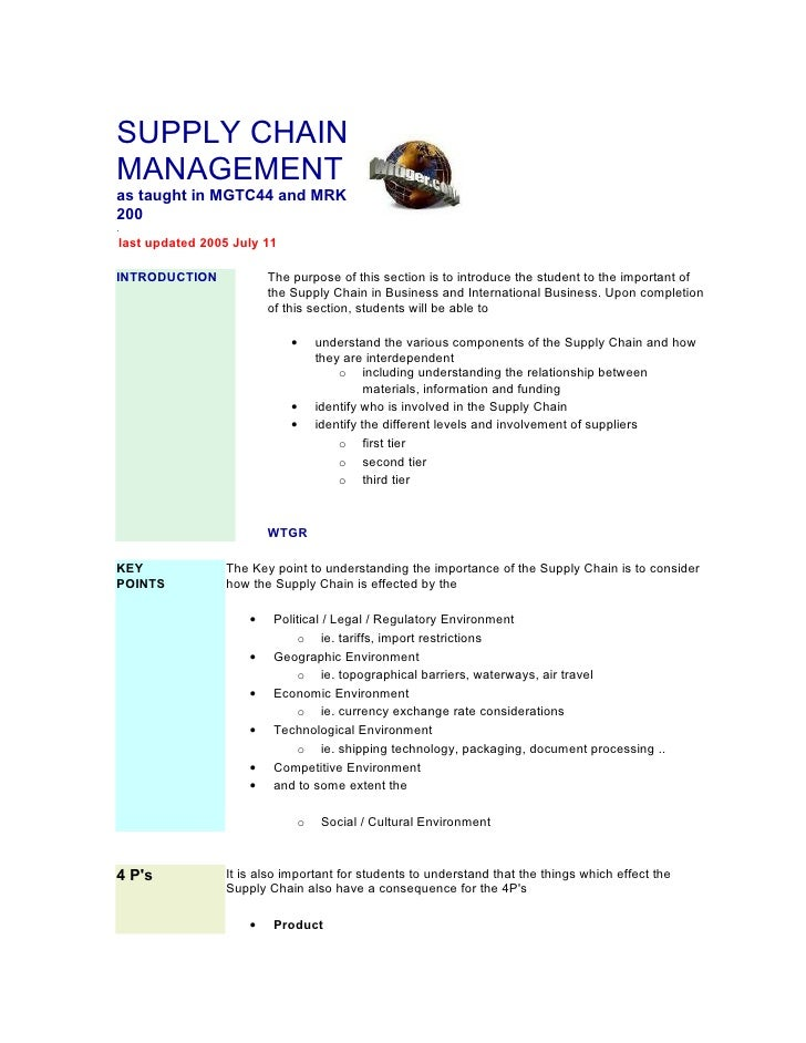 SUPPLY CHAINMANAGEMENTas taught in MGTC44 and MRK200.last updated 2005 July 11INTRODUCTION            The purpose of this ...