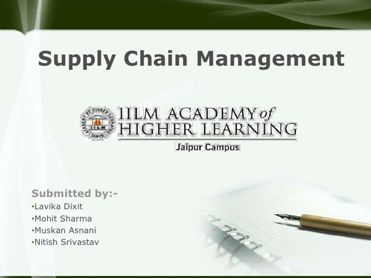 Supply Chain ManagementSubmitted by:-•Lavika Dixit•Mohit Sharma•Muskan Asnani•Nitish Srivastav