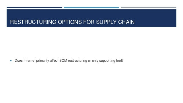 RESTRUCTURING OPTIONS FOR SUPPLY CHAIN   Does Internet primarily affect SCM restructuring or only supporting tool?